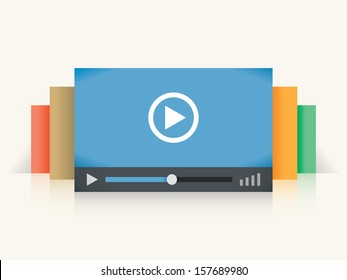 Video player colorful windows. Concepts: online Internet streaming video technology (Youtube, Vimeo, Netflix etc services), Home cinema movies, films watching, Smart digital TV, video blogging
