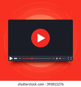 Video player design template with shadow for web and mobile apps. Vector illustration in flat style isolated on red background