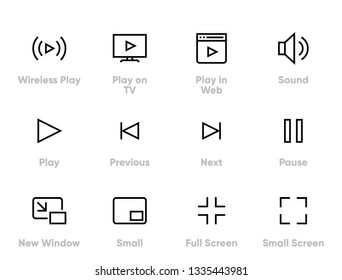 Video Player Editable Thin Line Icons.