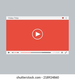 Video player flat design template for web and mobile apps