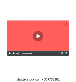 Video player. Flat design player for web and mobile apps