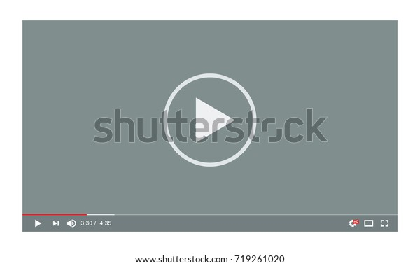 Video player in a flat style for the web. Vector template of video and audio player. New and trendy Media Player interface.