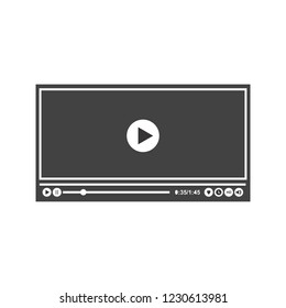 Video player Glyph black icon