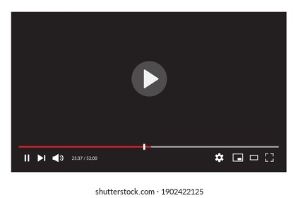 Video player interface isolated on white background. Video streaming template design for website and mobile apps. Vector illustration