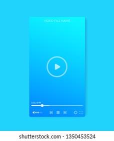 video player interface, mobile ui vector design, vertical orientation