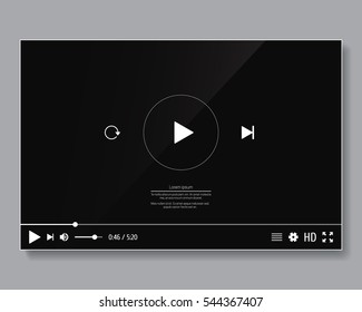 Video player interface template. Vector design for web and mobile apps.
