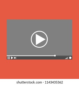 Video player interface template for web and mobile apps, vector illustration