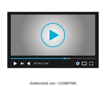 Video player interface for web and mobile apps. Vector illustration.