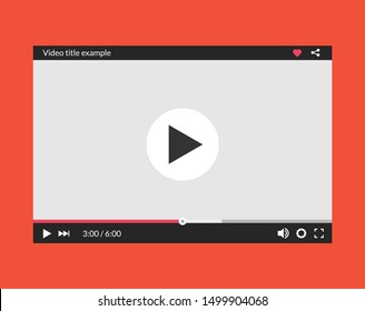 Video player interface web screen template. Media player window bar design mockup