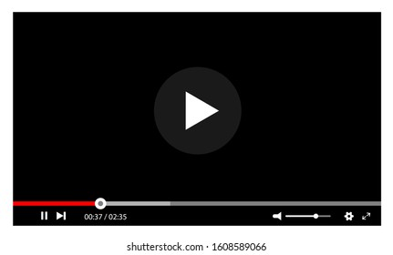 Video player interface web screen template. Vector illustration