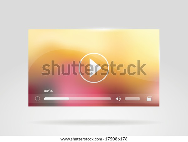 Video player, media interface for web. Vector illustration.