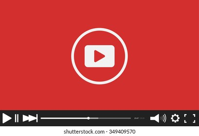 Video player mockup. Web template. Red Trendy Minimal Flash interface. Modern vector illustration.