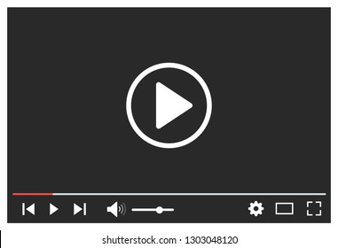 Video player. Multimedia player social media – stock vector