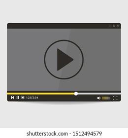 video player screen interface template vector