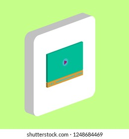 Video Player Simple vector icon. Illustration symbol design template for web mobile UI element. Perfect color isometric pictogram on 3d white square. Video Player icons for you business project