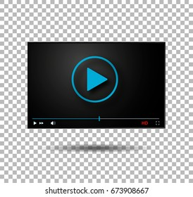 Video player vector  play button modern player blue digital player vector illustration movie