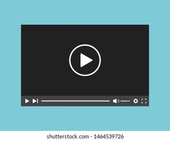 Video player web application interface template. Bar screen window application. Movie template. EPS 10