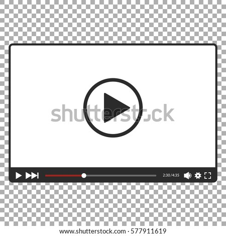 Video player for web in black and white, vector
