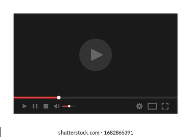 Video player for web. Media Player Interface. Player MockUp. Flat Style