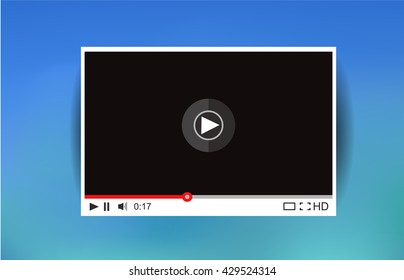 Video player for web. Media Player Interface. Minimalistic Design. Flat Style.Player MockUp