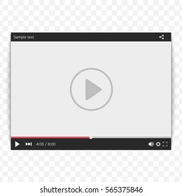 Video Player for web and mobile apps. Media player interface concept. Mock-up for UI template. Vector illustration in flat style isolated on transparent background. EPS 10.