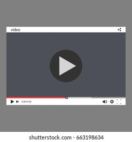 Video player for web and mobile apps. Vector illustration.