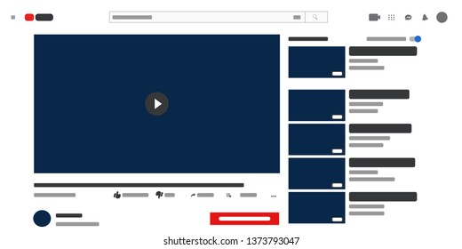 Video player web site mock up. Media Player template . Video player Interface. Vector web page.