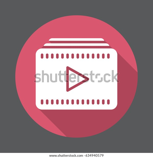 Video playlist flat icon. Round colorful button, circular vector sign with long shadow effect. Flat style design