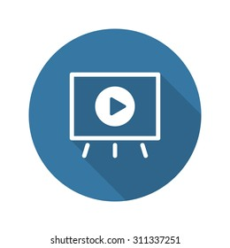 Video Presentation Icon. Business Concept. Flat Design. Long Shadow.  Isolated Illustration.