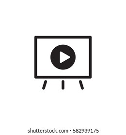 Video Presentation Icon. Business Concept. Flat Design Isolated Illustration.