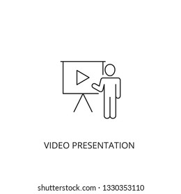 Video presentation vector icon, outline style, editable stroke