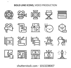 Video production, bold line icons. The illustrations are a vector, editable stroke, 48x48 pixel perfect files. Crafted with precision and eye for quality.