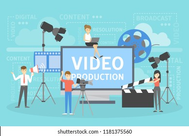 Video production concept. Making visual content for social media. Writing scenario, shooting video and editing usinf special equipment. Isolated vector illustration set.