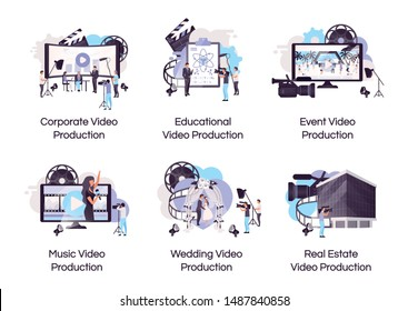 Video production flat concept icons set. Videography and filmmaking stickers, cliparts pack. Event, corporate, music video shooting. Isolated cartoon illustrations on white background