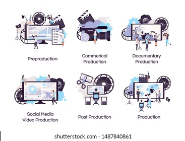 Video production flat concept icons set. Videography and filmmaking stickers, cliparts pack. Social media advertisement, documentary shooting. Isolated cartoon illustrations on white background