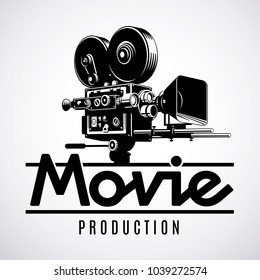 Video production logo design template. Old fashioned movie film camera black and white vector illustration.