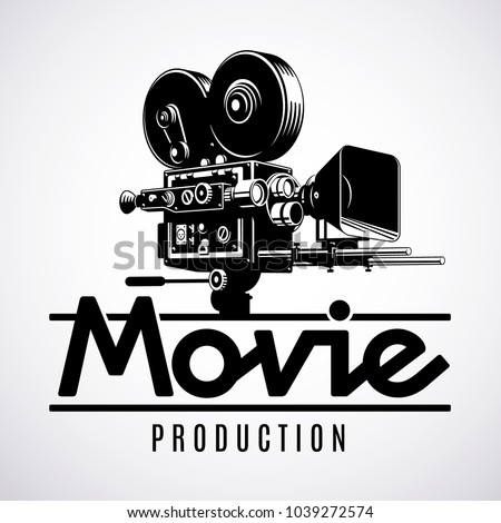 video production logo design template old stock vector