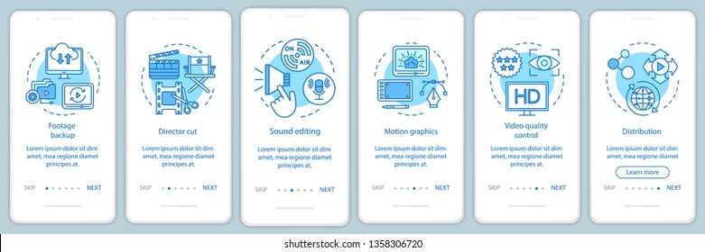 Video production onboarding mobile app page screen vector template. Film making process. Movie industry. Walkthrough website steps with linear illustrations. UX, UI, GUI smartphone interface concept