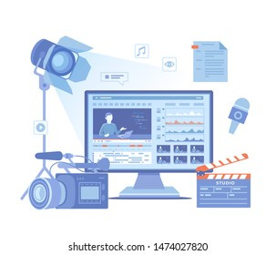 Video Production, Recording, Videography, Blogging. Design tv news studio. Сamera, microphone, clapper board, video editor on screen, scenario, illuminator. Vector illustration on white background.