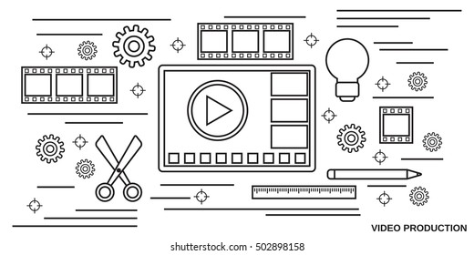 Video production thin line art style vector web banner template