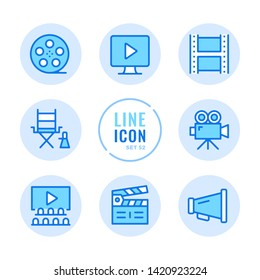 Video production vector line icons set. Filmmaking, movie industry, cinema, film production outline symbols. Thin line design. Modern simple stroke graphic elements. Round icons