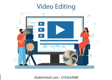 Video production or videographer online service or platform. Movie and cinema industry. Online video editing. Isolated vector illustration