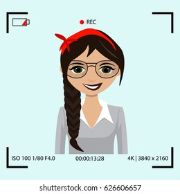 Video recording process with model. Blogger screen communication Vector flat illustration. Personal blog illustration. Digital vlog broadcasting. Home camera device