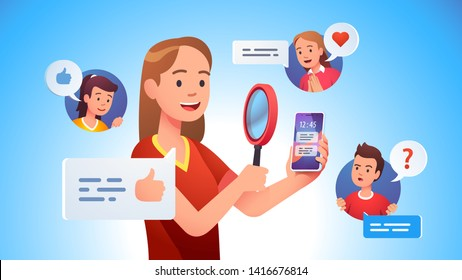 Video review concept. Blogger person doing modern smart phone review looking at it with magnifying glass. Tech reviewer woman doing job. Flat vector character illustration