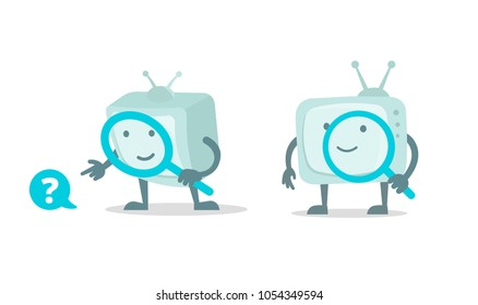Video search, cinema tv robot character with magnifier loupe set. With magnifying glass search. Flat color vector illustration stock clipart