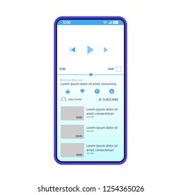 Video sharing app interface vector template. Mobile application page blue design layout. Multimedia plary screen. Flat UI for video content hosting, watching, streaming. Phone display