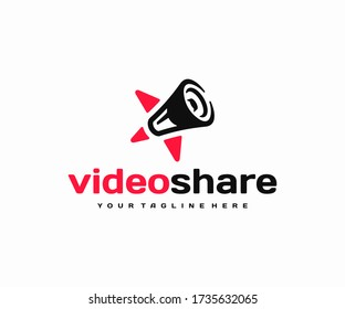 Video shoutouts logo design. Star and loudspeaker vector design. Communication with favorite people logotype