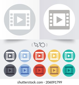 Video sign icon. Video frame symbol. Round 12 circle buttons. Shadow. Hand cursor pointer. Vector