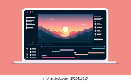 Video software on computer screen - Application for editing videos with timeline and user interface on laptop. Vector illustration