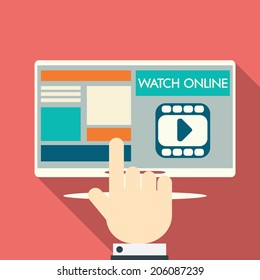 Video stream concept on modern technology devices with responsive flat web design. Eps10 vector illustration.
